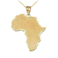 Yellow Gold Africa Map Pendant Necklace
