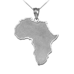White Gold Africa Map Pendant Necklace