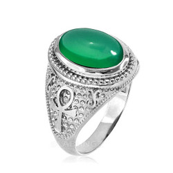 Sterling Silver Egyptian Ankh Cross Green Onyx Statement Ring