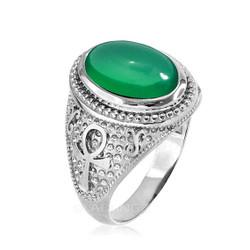 White Gold Egyptian Ankh Cross Green Onyx Statement Ring.