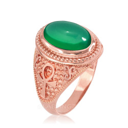 Rose Gold Egyptian Ankh Cross Green Onyx Statement Ring.