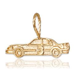Gold Textured Race Car #3 Charm Pendant