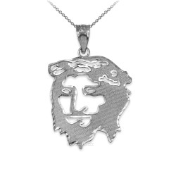 White Gold  Jesus Face DC Charm Necklace.