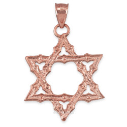 Rose Gold Jewish Star of David Reversible Pendant