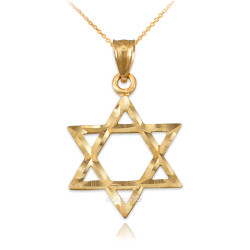 Yellow Gold Jewish Star of David DC Charm Necklace