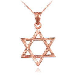 Rose Gold Jewish Star of David DC Charm Necklace