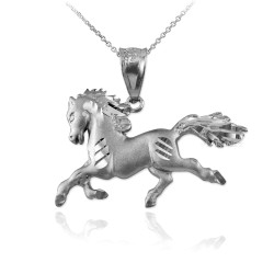 White Gold Horse Satin DC Charm Necklace