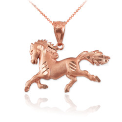 Rose Gold Horse Satin DC Charm Necklace