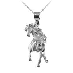 White Gold Stallion Horse Satin DC Pendant Necklace