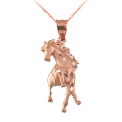 Rose Gold Stallion Horse Satin DC Pendant Necklace