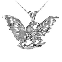 Sterling Silver Raven DC Pendant Necklace