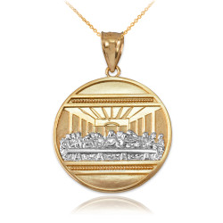 Two-Tone Gold Last Supper Medallion Pendant Necklace