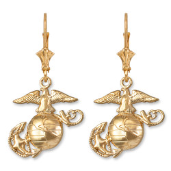 14K Yellow Gold US Marine Corps Leverback Earrings
