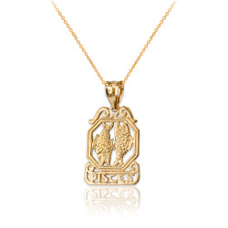 Yellow Gold Open Design Pisces Zodiac Charm Necklace