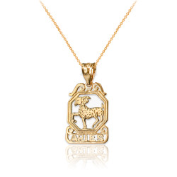 Yellow Gold Open Design Aries Zodiac Charm Necklace