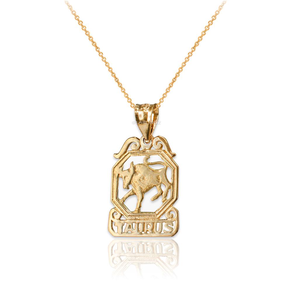 LA BLINGZ 10K Yellow Gold Open Design Aquarius Zodiac Charm Necklace