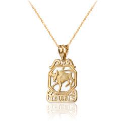 Yellow Gold Open Design Taurus Zodiac Charm Necklace