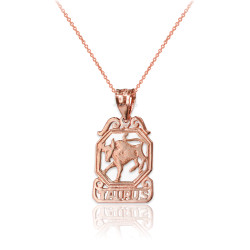 Rose Gold Open Design Taurus Zodiac Charm Necklace