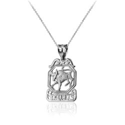 Sterling Silver Open Design Taurus Zodiac Charm Necklace