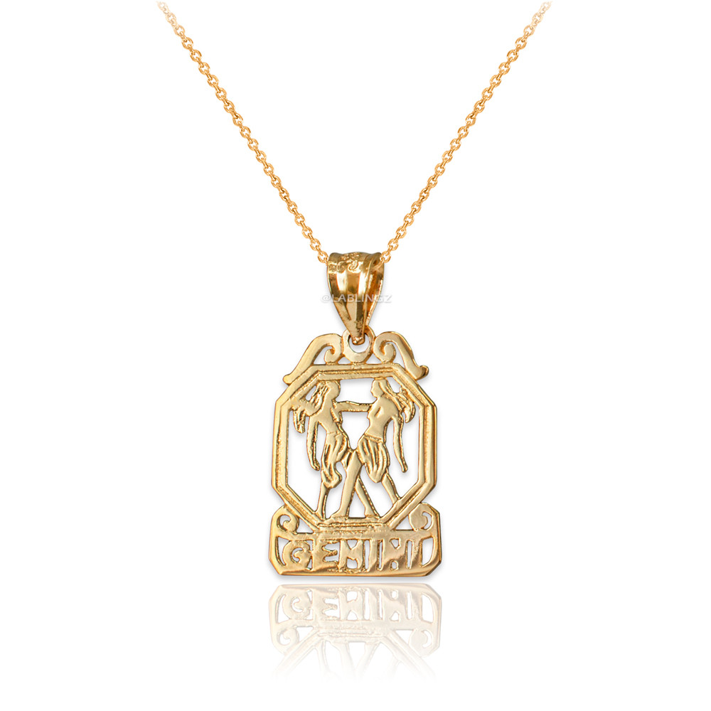 10K Yellow Gold Praying Hands Cross DC Charm Necklace