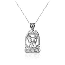 White Gold Open Design Gemini Zodiac Charm Necklace