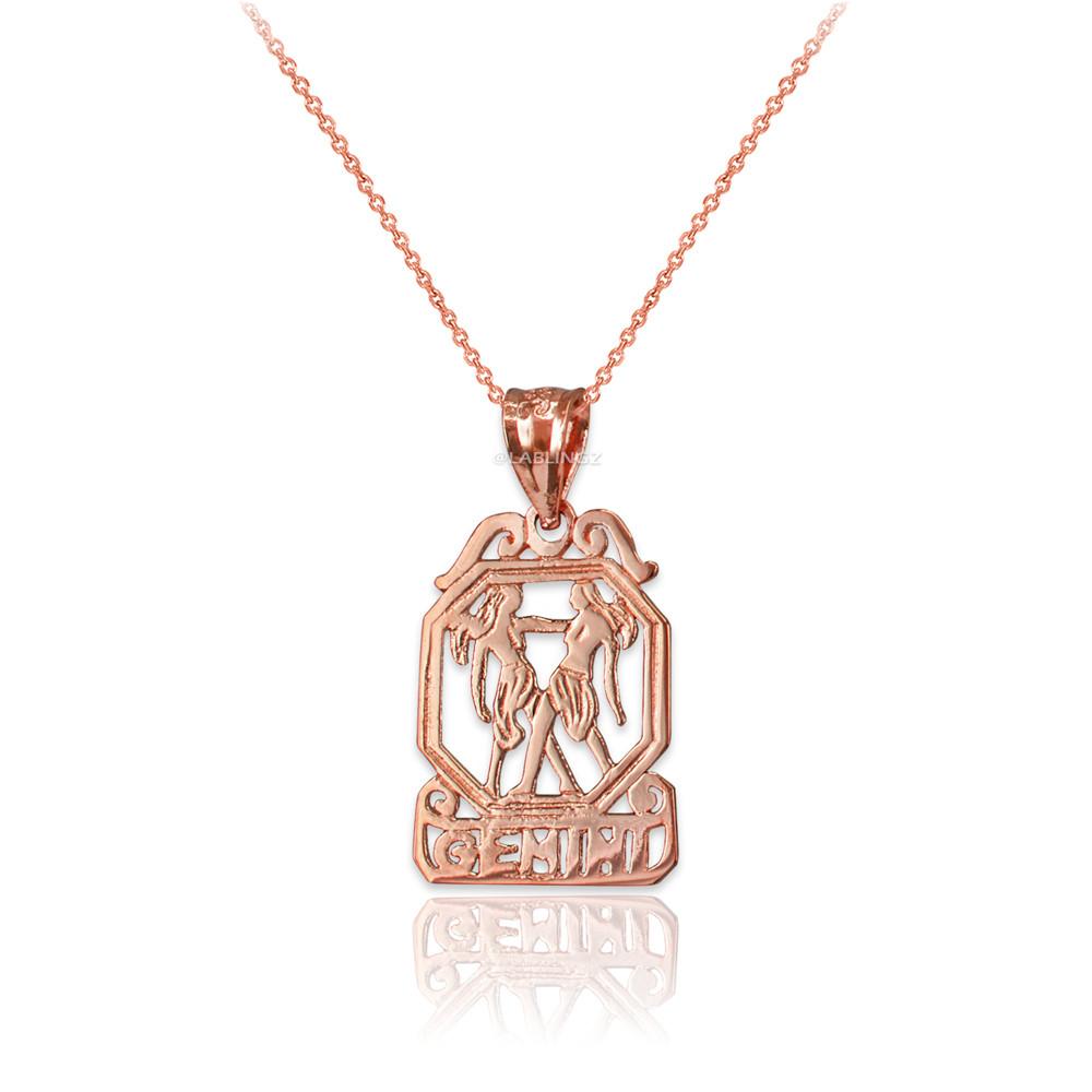 LA BLINGZ 10K Rose Gold Open Design Gemini Zodiac Charm Necklace