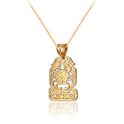 Yellow Gold Open Design Cancer Zodiac Charm Necklace