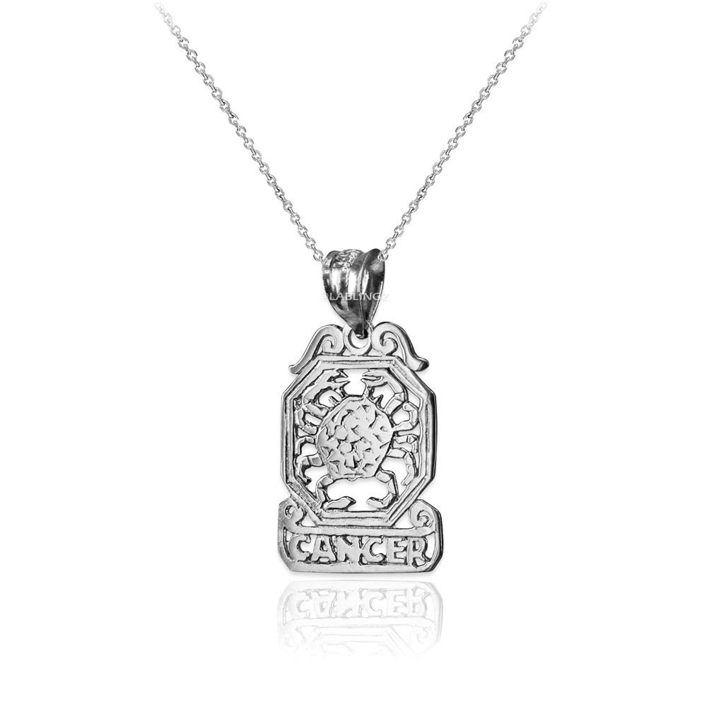 LA BLINGZ 10K Polished White Gold Cancer Zodiac Sign Round Pendant Necklace