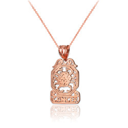 Rose Gold Open Design Cancer Zodiac Charm Necklace