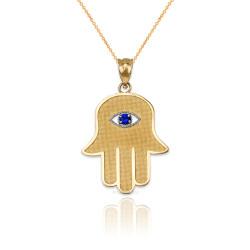 Yellow Gold Hamsa Blue CZ Evil Eye Pendant Necklace