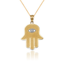 Yellow Gold Hamsa Clear CZ Evil Eye Pendant Necklace