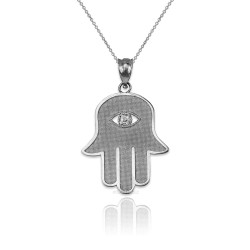 White Gold Hamsa Clear CZ Evil Eye Pendant Necklace