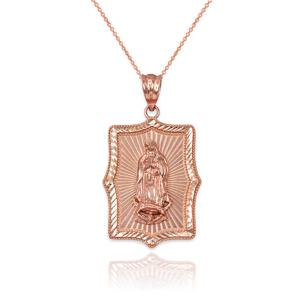 431902f7b5e Our Lady Of Guadalupe Rose Gold Diamond Cut Religious Square Pendant ...