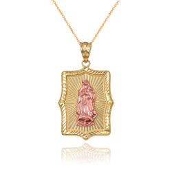Two-Tone Yellow & Rose Gold Lady Guadalupe DC Pendant Necklace