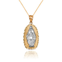 Two-Tone Yellow & White Gold Lady of Guadalupe DC Pendant Necklace