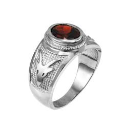 White Gold Capricorn Zodiac Sign January Birthstone Red CZ Ring