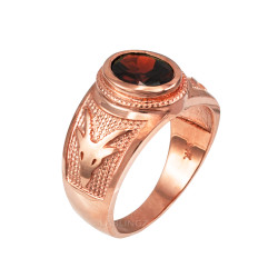 Rose Gold Capricorn Zodiac Sign January Birthstone Red CZ Ring