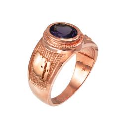 Rose Gold Gemini Zodiac Sign June Birthstone Violet CZ Ring