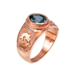 Rose Gold Pisces Zodiac Sign March Birthstone Aqua CZ Ring