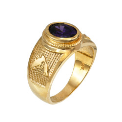 Yellow Gold Aquarius Zodiac Sign February Birthstone Purple CZ Ring