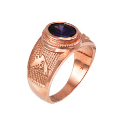 Rose Gold Aquarius Zodiac Sign February Birthstone Purple CZ Ring