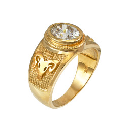 Yellow Gold Aries Zodiac Sign April Birthstone Clear CZ Ring
