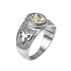 White Gold Aries Zodiac Sign April Birthstone Clear CZ Ring
