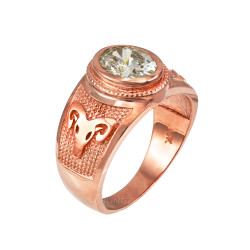 Rose Gold Aries Zodiac Sign April Birthstone Clear CZ Ring