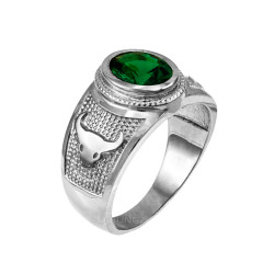 Sterling Silver Taurus Zodiac Sign May Birthstone Green CZ Ring