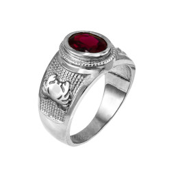 Sterling Silver Cancer Zodiac Sign July Birthstone Red CZ Ring