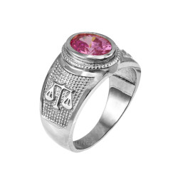 White Gold Libra Zodiac Sign October Birthstone Pink CZ Ring