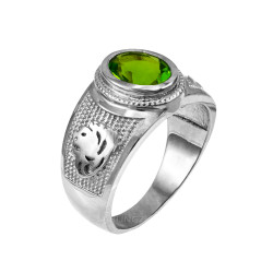 White Gold Leo Zodiac Sign August Birthstone Green CZ Ring