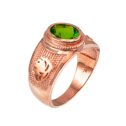 Rose Gold Leo Zodiac Sign August Birthstone Green CZ Ring