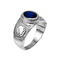 White Gold Virgo Zodiac Sign September Birthstone Blue CZ Ring